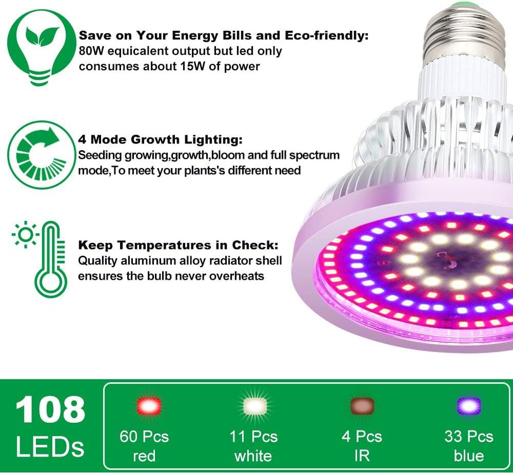 Bl/üte LED Pflanzenlampe 100W Wachstumslampe 4 Modus E27 Vollspektrum Wachstum Pflanzenleuchte f/ür Garten Gew/ächshaus Zimmerpflanzen Blumen und Gem/üse