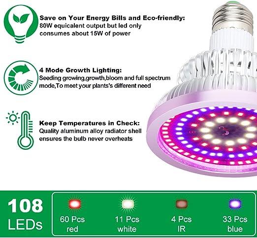 + E27 L/ámpara para plantas clase energ/ética A 80 W espectro completo l/ámpara de crecimiento LED para plantas de interior 4 modos 108 ledes + verduras y flores