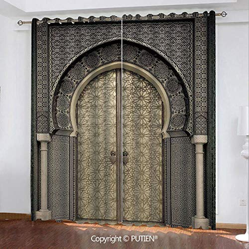 Satin Grommet Window Curtains Drapes [ Moroccan Decor,Aged Gate Geometric Pattern Doorway Design Entrance Architectural Oriental Style, ] Window Curtain for Living Room Bedroom Dorm Room Classroom Kit