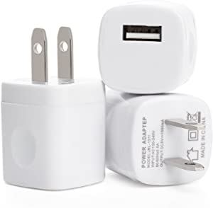 RKINC Universal USB Port Colors USB AC/DC Power Adapter, Home Wall Charger, Plug with Easy Grip for iPhone 6/6 Plus 5S 5 4S Samsung Galaxy S5 S4 S3 - White - 3 Piece