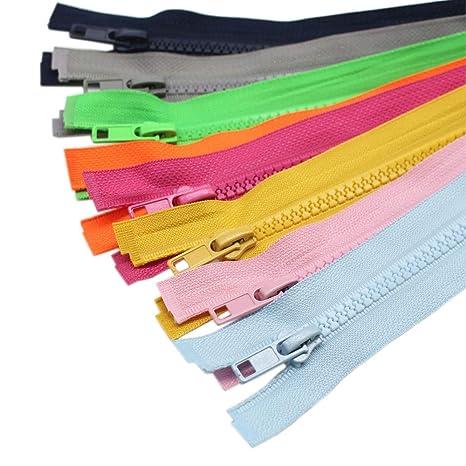 YaHoGa 10 piezas 70 cm separación chaqueta cremalleras para coser abrigo chaqueta cremallera resistente plástico cremalleras