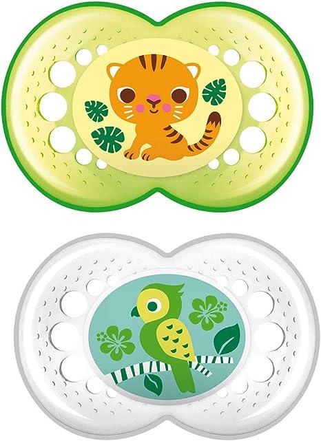 Chupete fisiol/ógico para un sano desarrollo dental chupete de silicona extra fino y flexible verde 6+ meses chupete MAM con escudo anti irritaciones MAM Perfect 6+