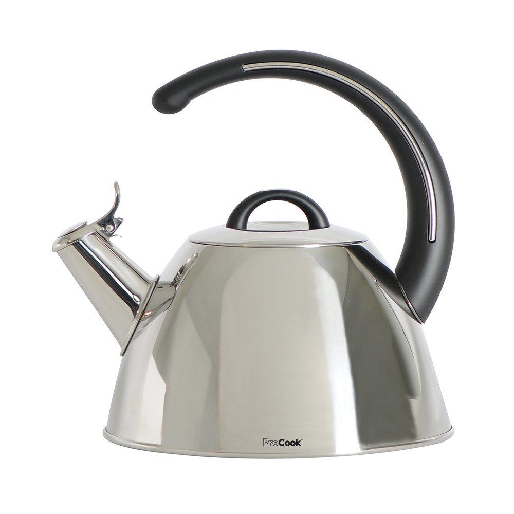 Bouilloire sifflante pour cuisinière compatible induction 2l poignée en C noire ProCook