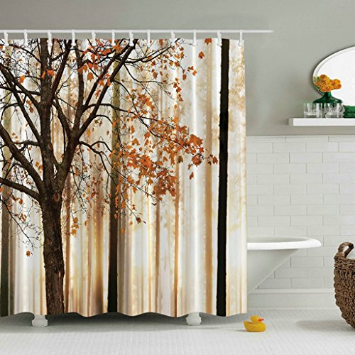 Mystic Forest Decor Collection Light And Vintage Color In Mysterious Autumn Forest Woodland Nature Picture Polyester Fabric Bathroom Shower Curtain Set With Hooks