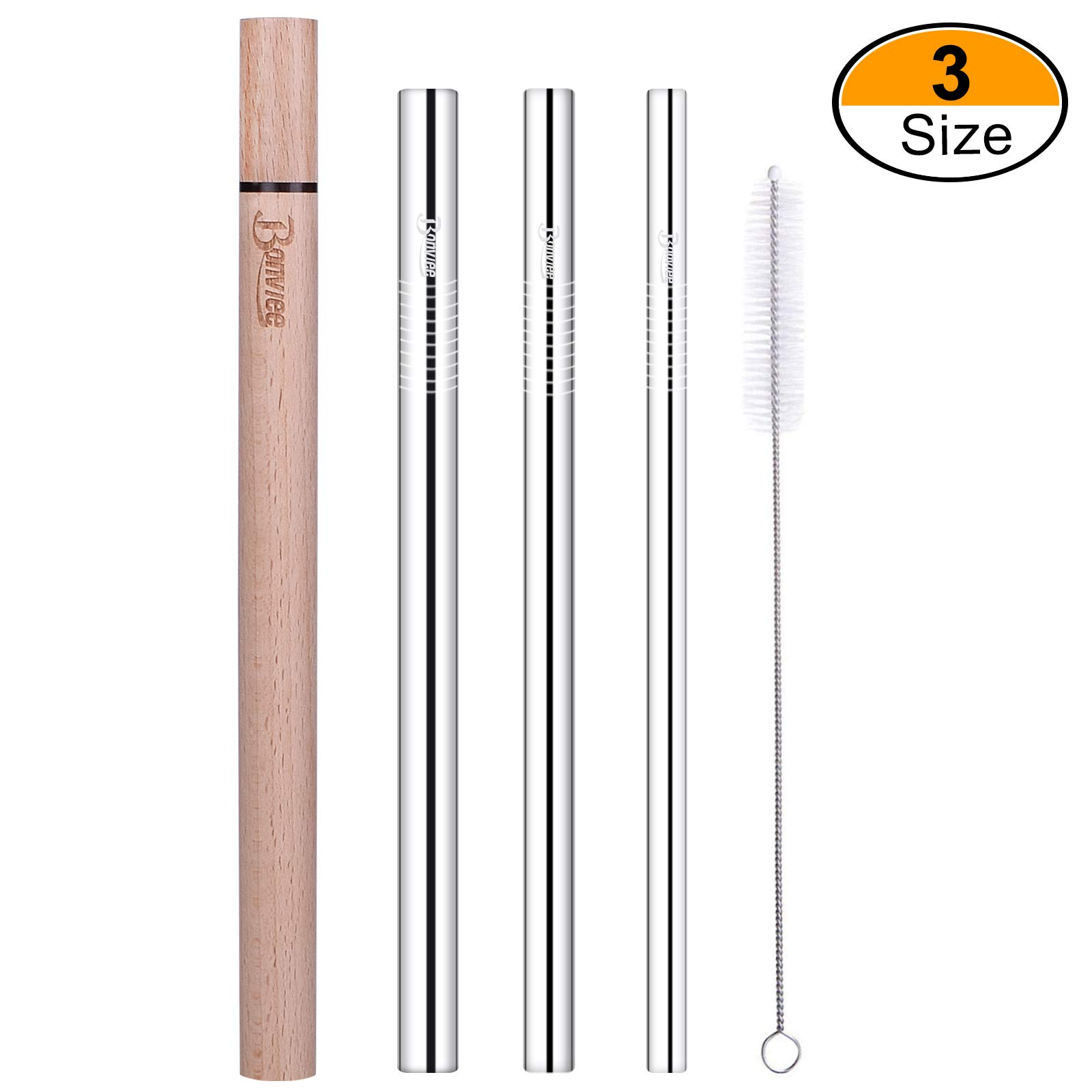 Bonviee Stainless Steel Straws 8.5 Inch Drinking Straws Metal Straws Reusable with Wooden Travel Case and Cleaning Brush Metal Drinking Straws for 20 OZ Tumbler YETI Cups (3 Size: 6/8/10mm Dia.)