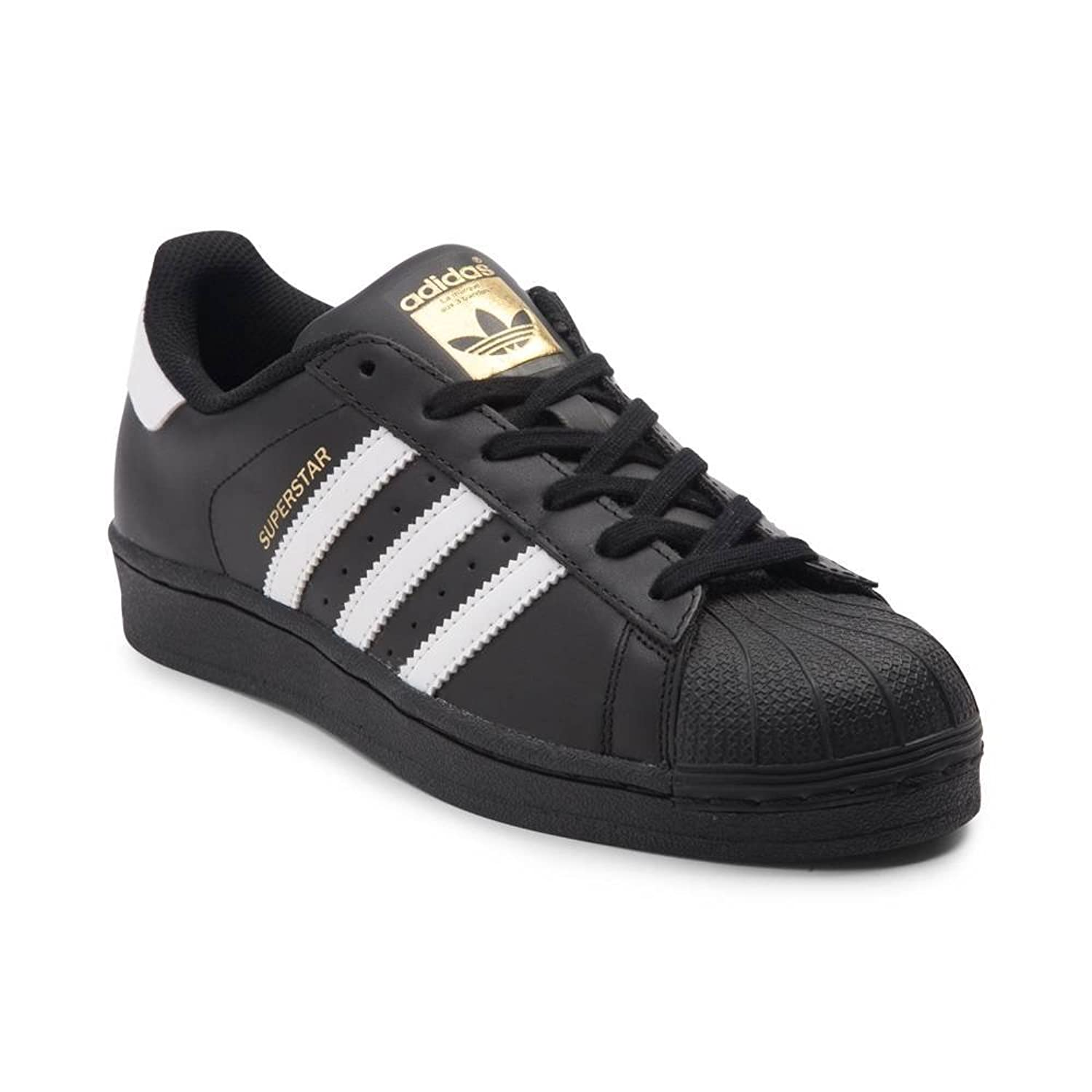 adidas Originals Women's Superstar W Fashion Sneaker (Womens 8, Black/White/GoldLabel)
