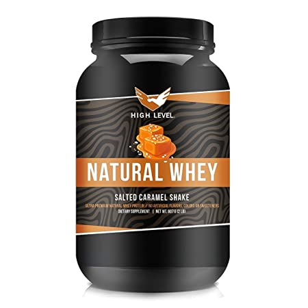 High Level Natural Whey Protein Powder Salted Caramel Shake with Stevia 29g Protein 2 lb, Ultra Filtered Non-GMO Digestive Enzymes for Absorption No Artificial Color or Flavors Made in USA