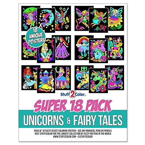 Stuff2Color Super Pack of 18 Fuzzy Velvet Coloring Posters (Unicorns & Fairy Tales Edition)