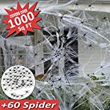 Mazuly Halloween Spider Web Decorations , Large Spider Web Stretch 1000 Sq Ft Mega Spider Silk with 60 Spider for Outdoor Scary Indoor House Bushes Halloween Door Window Wall Garden Party Favor Decor