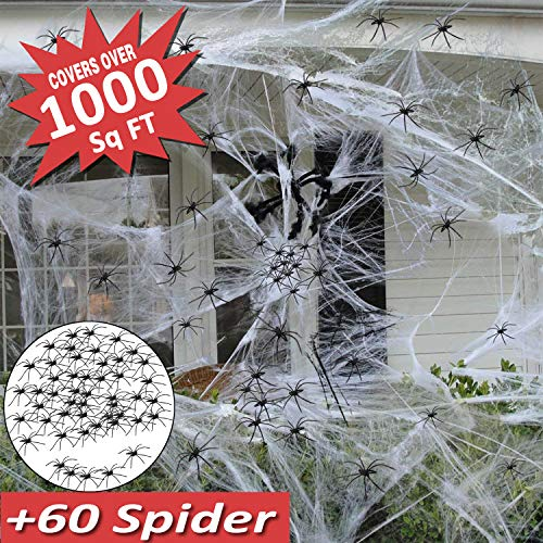 Halloween Decoration Clearance Mazuly Halloween Spider Web Decorations , Large Spider Web Stretch 1000 Sq Ft Mega Spider Silk with 60 Spider for Outdoor Indoor Halloween Wall Garden Party Favor -