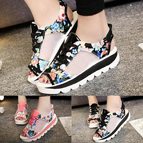 Byste Women Summer Lace Bandage Sandals Shaft Boat Shoes GirlsFish Mouth Gladiator Teen Girls Summer Slippers Beach Wear Home Casual Bohemia Leisure Flower Printed Pink 70OAU