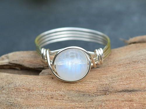 Moonstone Jewelry Wire Ring Rainbow Moonstone Ring