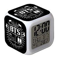 Yovvin BTS Wecker, Kpop Bangtan Jungen LED Beleuchtet Digital Wecker 7 Färbige Nachtlicht Wecker mit Zeit, Alarm, Datum, Wochentag, Batterienbetrieben