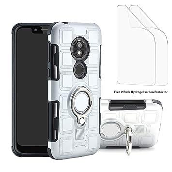 Liudashun Funda Motorola Moto G7 /G7 Plus Armor Carcasa con 360 Anillo iman Soporte Hard PC Silicona TPU Bumper antigolpes Fundas Carcasas Case(2 ...