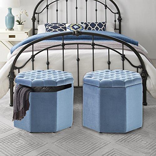 Cheap Inspired Home Nova Blue Velvet Storage Ottoman – Upholstered | Tufted | Livingroom, Entryway, Bedroom