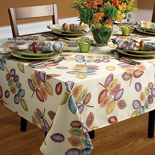 (Croscill Mosaic Tree Leaves Fabric Tablecloth (60-inch x 84-inch))
