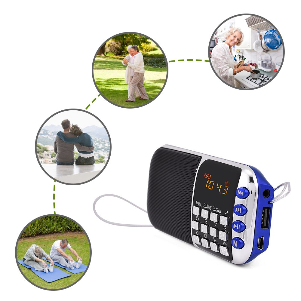 Zerone Portable FM Radio HiFi Stereo Multimedia Speaker Loud Sound Walkman Mp3 Music Player Support Micro SD TF Card USB Disk AUX with LCD Display(Blue) by Zerone (Image #3)