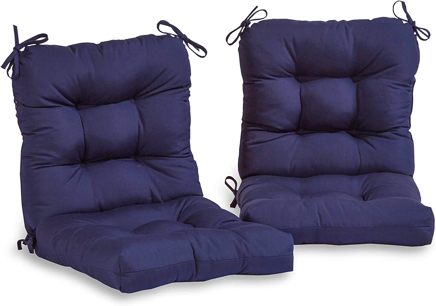 South Pine Porch AM6815S2-NAVY Solid Navy Outdoor Seat/Back Chair Cushion, Set of 2