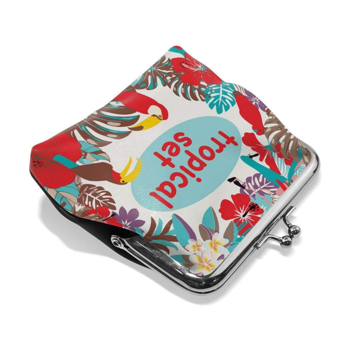 Yunshm Tropical Birds Palm Leaves And Vector Image Personalized Leather Classic Floral Coin Purse Clutch Pouch Wallet For Womens