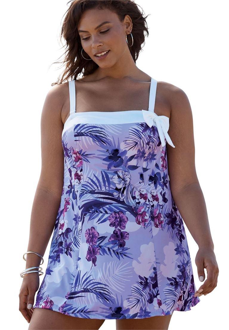 Roamans Women's Plus Size Side Bow Swimdress Dusty Purple Floral,28 by Roamans