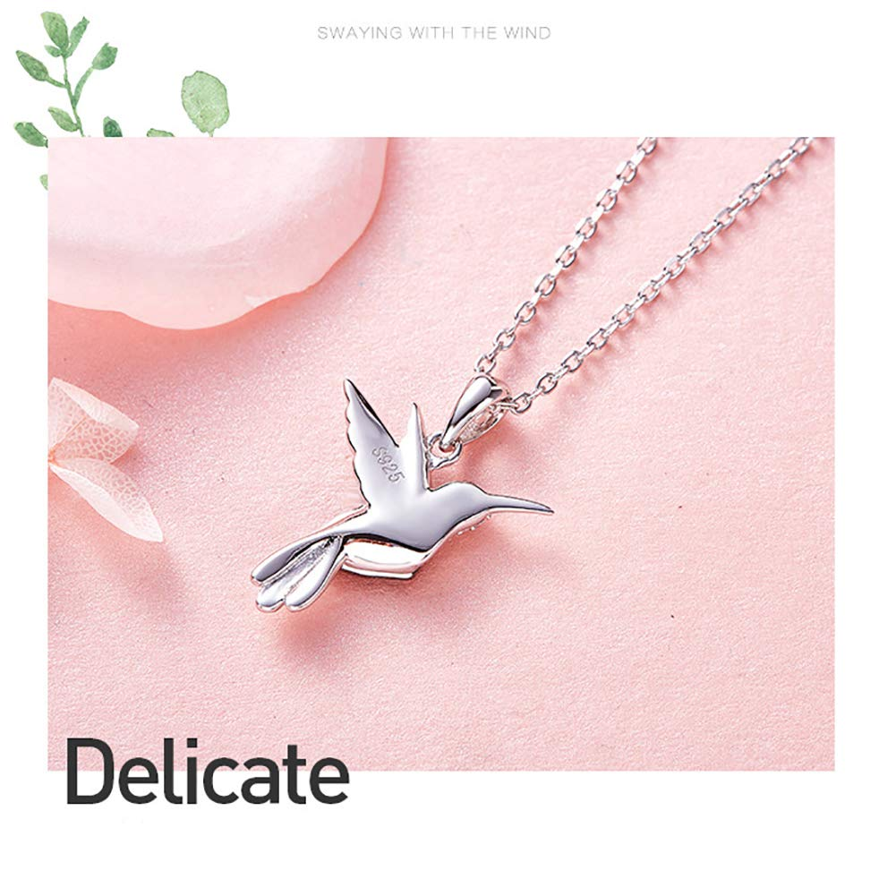 GEEZII Fashion Animal Bird Cute 925 Sterling Silver Pendant Chain Crystals Gemstone Jewelry Cubic Zirconia Charm Pendant Necklace for Women Lady Wedding Gift Box