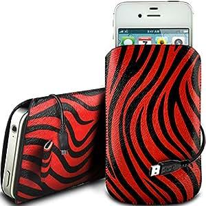 N4U Online - HTC One Mini PU cuero Zebra Diseño deslizamiento cordón tirador de la cremallera en la caja de la bolsa con cierre rápido y USB Data Cable de carga - Rojo