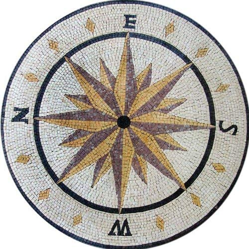 24 Inch Marble Mosaic - Mosaic Compass Design - Round Stone | Mosaic Designs | Mosaic Artwork | Mosaic Wall Art Floor Inlay by Mozaico | Handmade Mosaics | 24