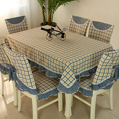 Country style check fabic chair back cover and chair cushion cover