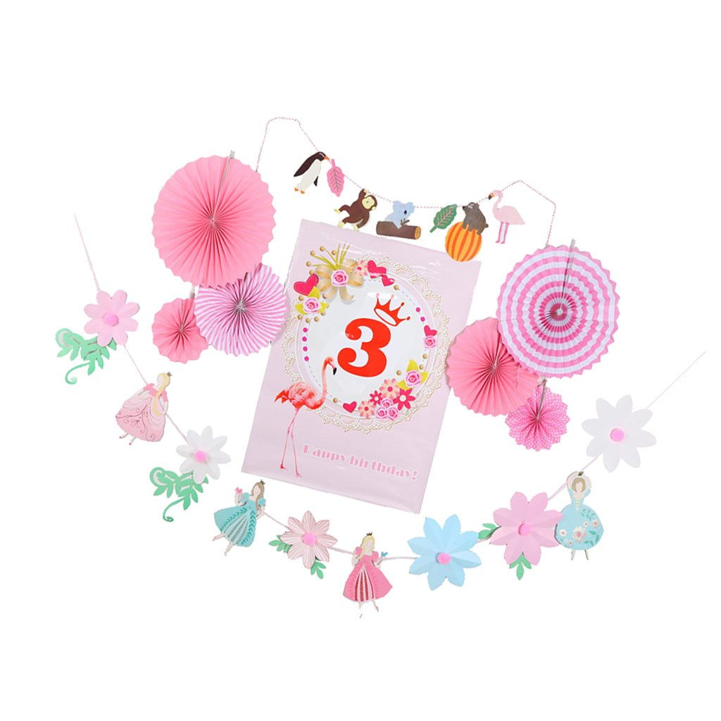 MagiDeal Ages 1 to 8 Baby Shower Birthday Poster Hanging Paper Fan Flower Fairy Animal Banner Set - 3, as described
