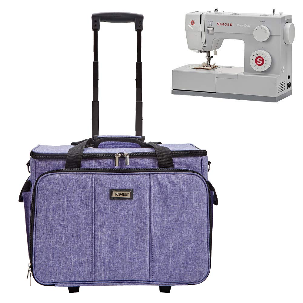 B07Y9X5K3H HOMEST Deluxe Sewing Machine Case on Wheels, Rolling Trolley Tote with Shoulder Strap and Strong Carry Handles, Compatible with Singer & Brother Machine, Purple (Patent Design) 61a2BRzZy5kL
