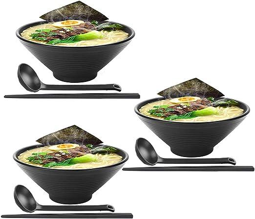 Tazones de sopa 3 juegos (9 piezas) Juego grande de tazón de ramen japonés, viene con cuchara y palillos, melamina de calidad de restaurante, para fideos, Pho, fideos, Udon, tailandés, vajilla china: