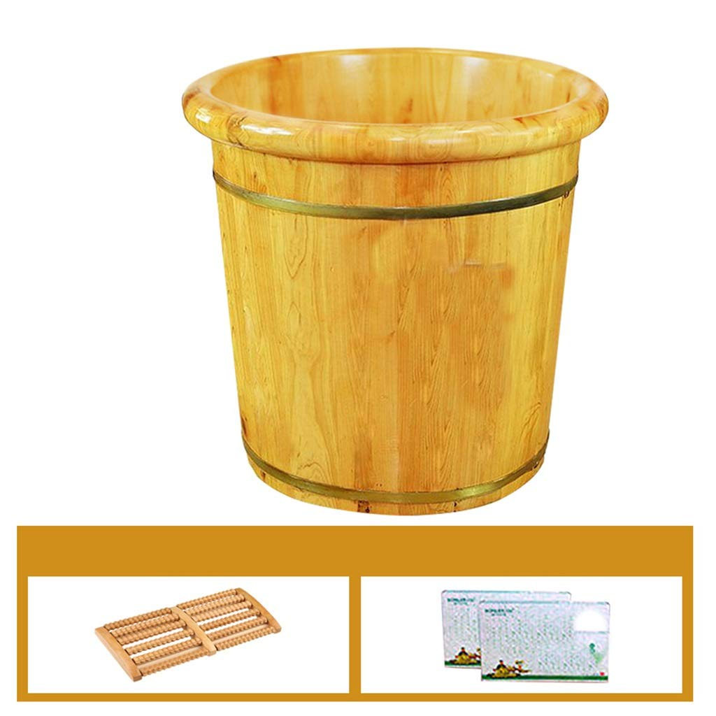Tub Foot Bath, Cypress Wood Foot Bucket,Heightening Seamless Splicing,Household Insulation Steamed Foot Artifact,Foot Spa Wooden (Size : No Cover)