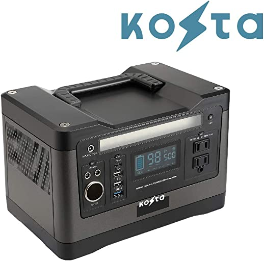 KOSTA Solar Generator 540WH 50AH Lithium Portable 110V 500W Pure Sine Wave Power Station AC Inverter for CPAP Emergency Outdoor Camping Travel Hunting