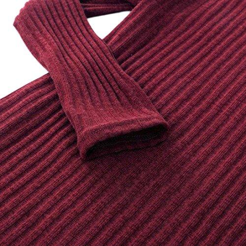 eleganti Caldo Sweatshirts donna Sciolto Oversize da Colletto Donna Wine Pile Pullover Lunga Collare Inverno di Casuale Alta Maglia Mucchio di Manica maglioncini camicette Maglione Odejoy FC7fgxw