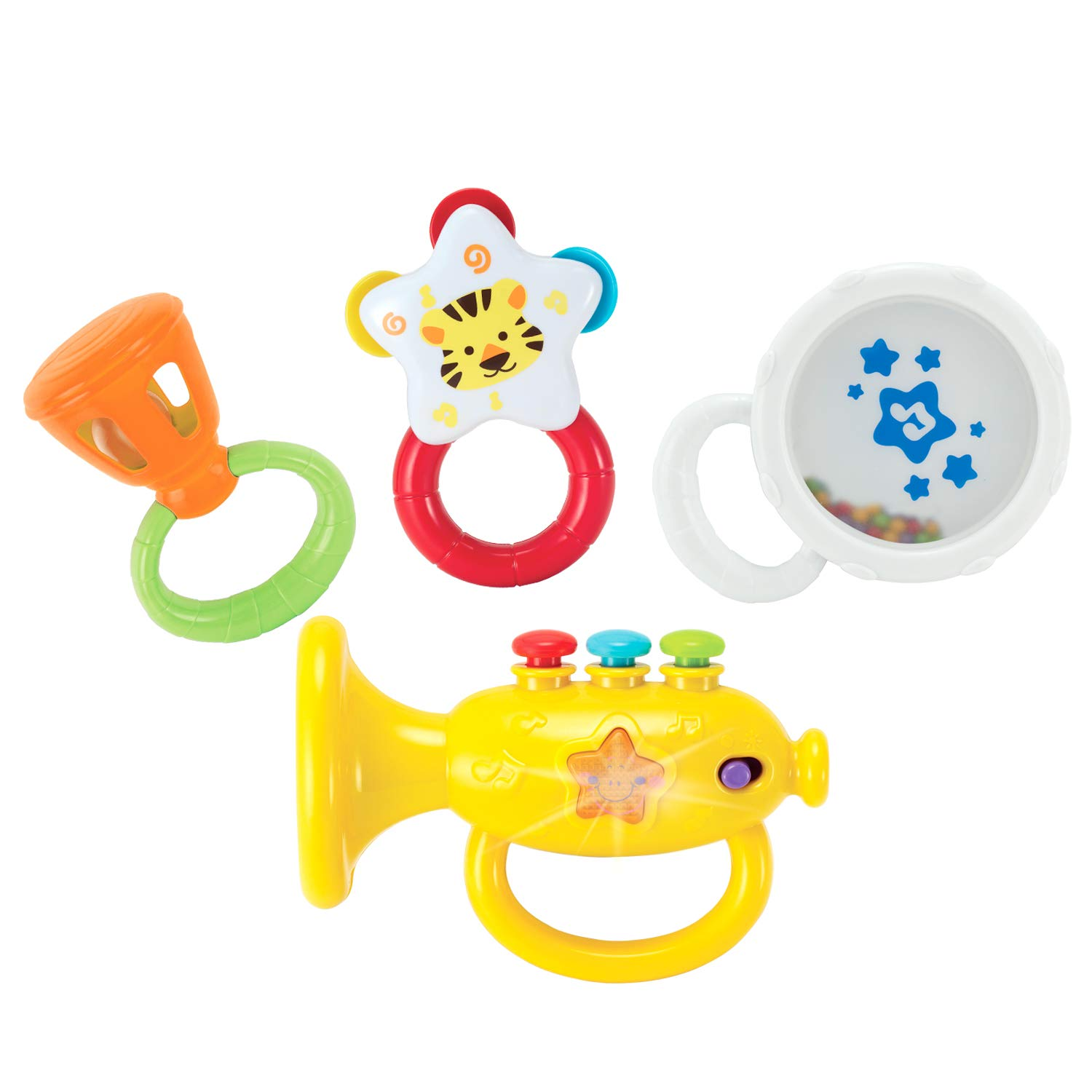 Toddler Learning Toys for Early Development KiddoLab Musical Instruments Set with an Electronic Trumpet and Rattles for Babies First Infant Music Toy for 3 to 18 Months Old Boxiki