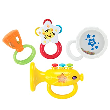 Kiddolab Musical Instruments Set With An Electronic Trumpet And Rattles For Babies Toddler Learning Toys