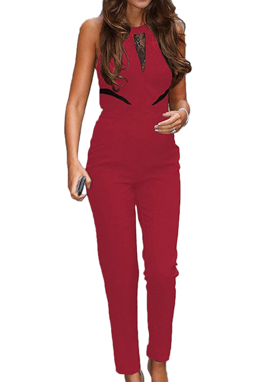 Women's Romper Jumpsuits Lace Patchwork Mesh Sheer Long Pants Jumpsuits CAANHFS001