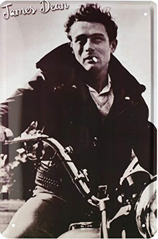 BlechschilderWelt Targa in Metallo Film James Dean su Moto Targa in Metallo 20 x 30 cm Decorazione da Parete Tin Sign