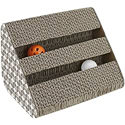 ANG Cat Scratching Pad Toy with Inside Bell-Balls, Small-Two Balls in Single Side