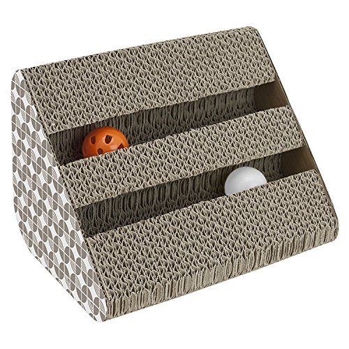 Play King Cat Scratching Pad Toy with Inside Bell-Balls, Small-Two Balls in Single Side