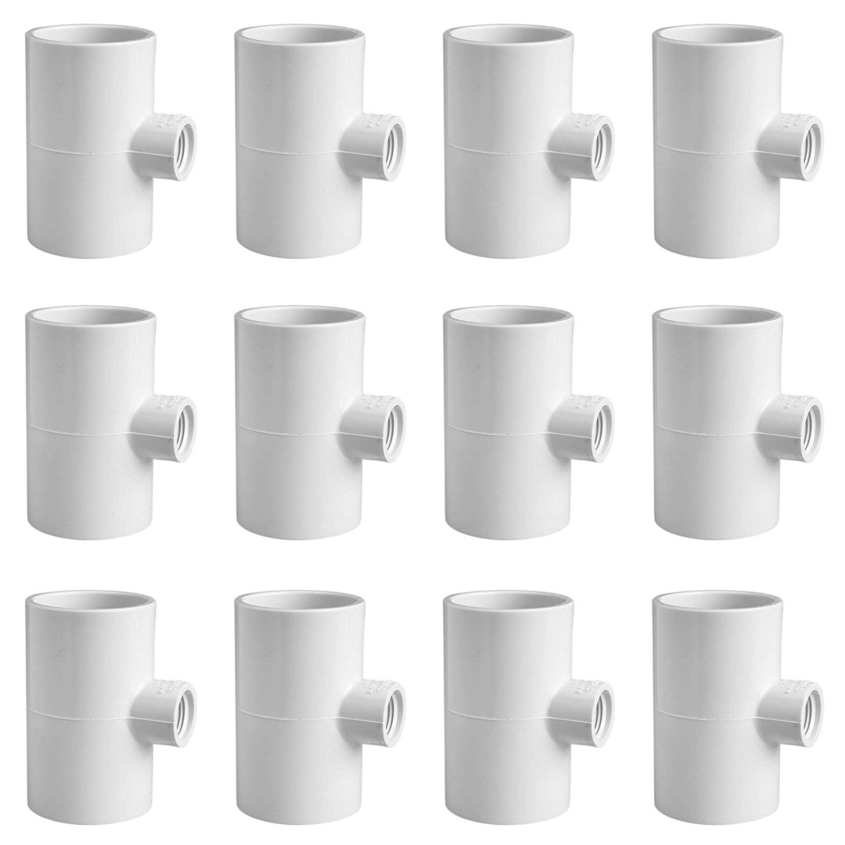 Cruzadel 12 Pack - PVC Tee Fittings for Threaded Poultry Nipples Chicken Waterer - Schedule 40 PVC 1/2 inch Slip X 1/2 inch Slip X 1/8 inch FPT by Cruzadel