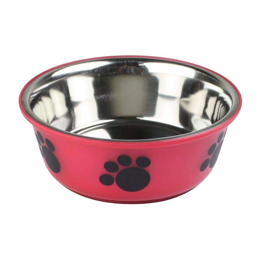 eBuyGB Non Slip Stainless Steel Pet Dog Cat Food Water Feeding Bowl - Paw Design (Red Medium)