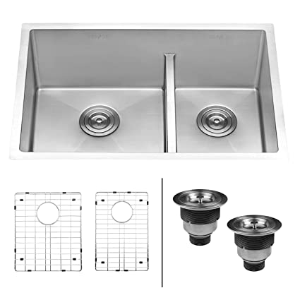 ruvati 28 inch low divide undermount tight radius 60 40 double bowl rh amazon com  ceramic two bowl kitchen sink