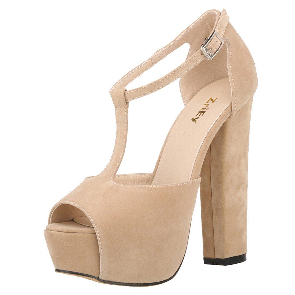 ZriEy Women's Peep Toe 14CM / 5.5 inches High Heel T-Strap Platform Chunky Heels Party Wedding Sandals Velvet Nude Size 5