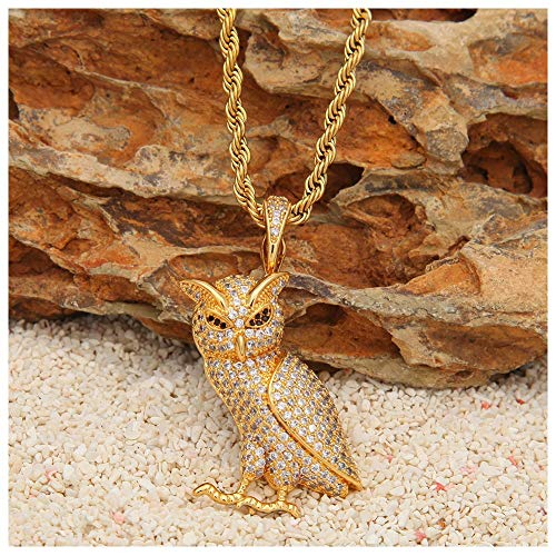 (Moca Jewelry Hip Hop Owl Pendant Animal Necklace, 14K Gold Iced Out Fully CZ Necklace for Men Women )