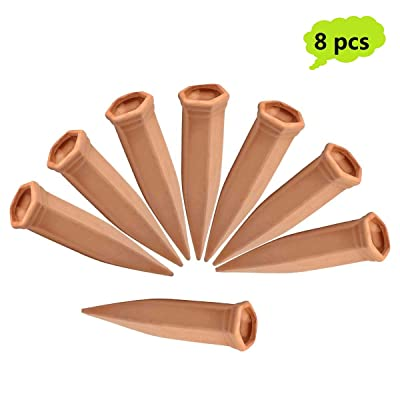 JULIAS 8 Pcs Vacation Plant Waterer Terracotta Plant Waterers Self Plant Watering Spikes Terracotta Wine Bottle Stake Set Plant Watering Devices: Garden & Outdoor