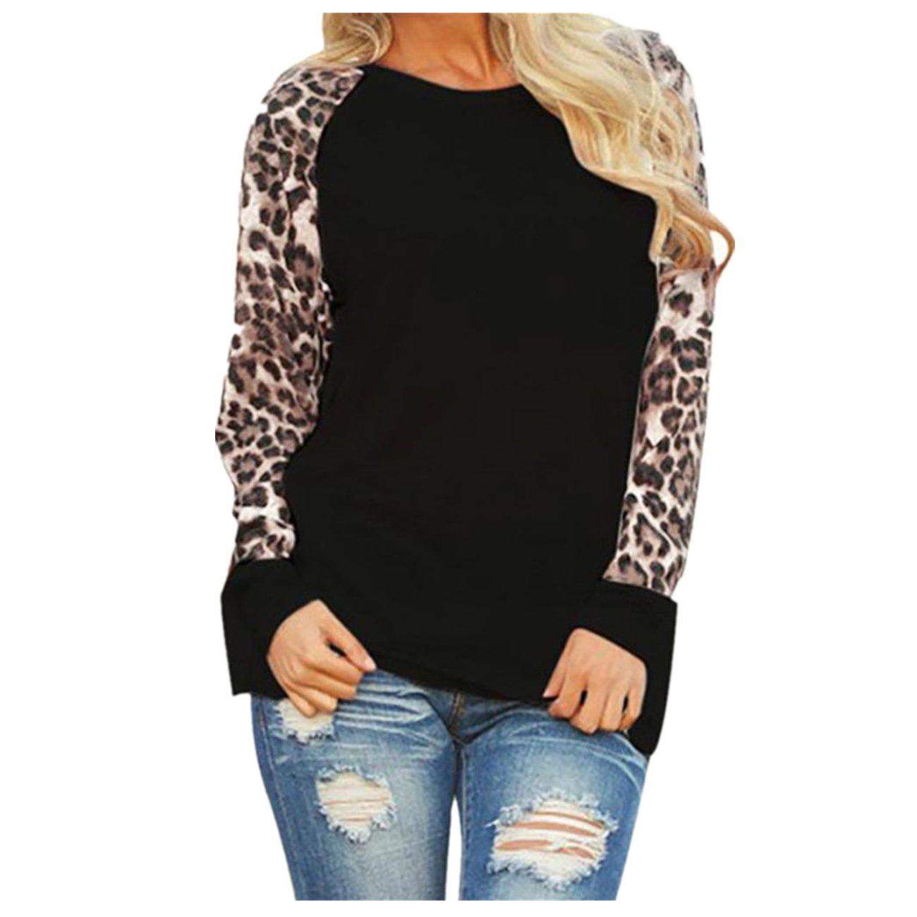 TIFENNY Fashion Womens Long Sleeve T-Shirt, Ladies Plus Size Leopard Blouse Oversize Tops(Gray,M) (XXXXXL, Black)