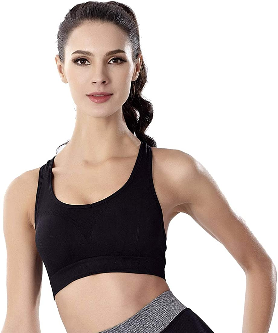 SHEKINI Women Zip Front Sports Yoga Bra Racerback Wireless Post-Surgery Bra