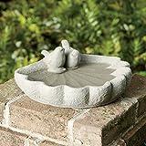 Sparrow Birdbath Garden Decor Outdoor Clay Feeder New