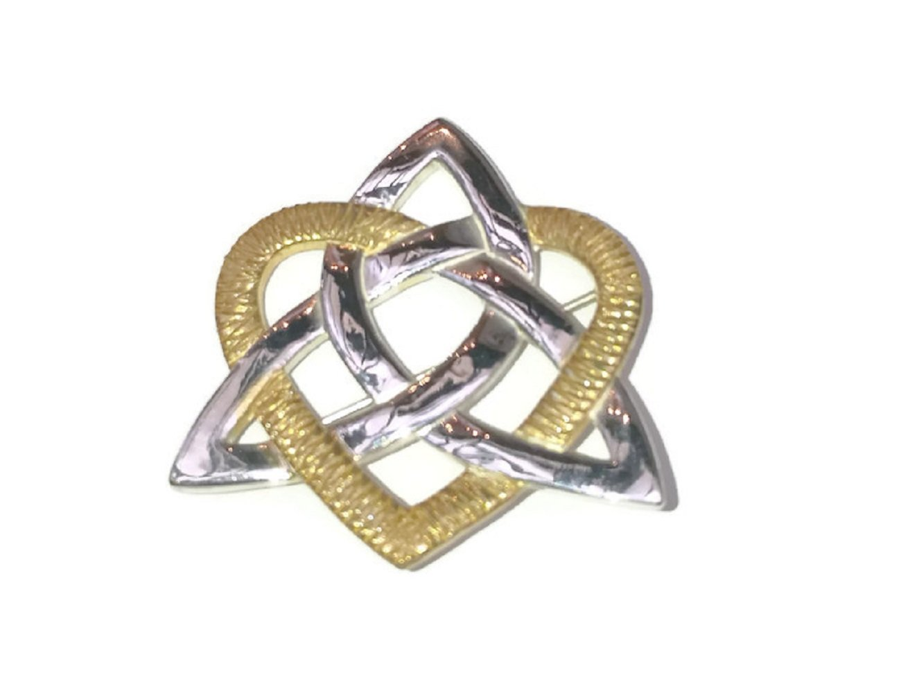 Trinity Knot Brooch & Heart Sterling Silver & 22k Gold Vermeil Irish Made